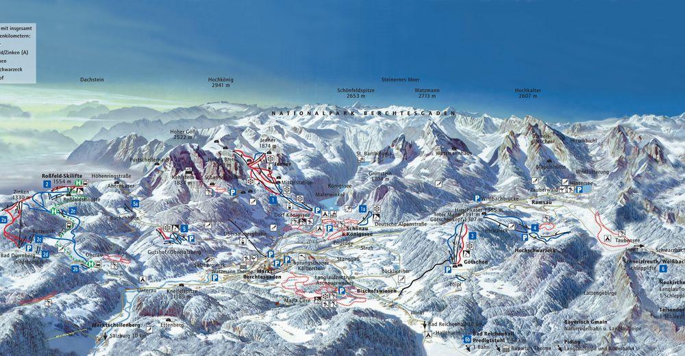 Bakkeoversikt Skiområde Skilift Mautgrube - Oberau / Berchtesgadener Land