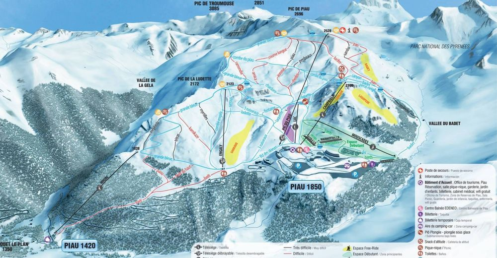 Piste map Ski resort Piau-Engaly