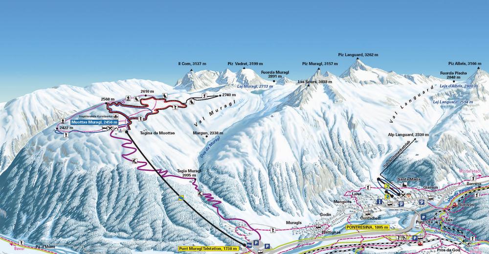 Mapa zjazdoviek Lyžiarske stredisko Muottas Muragl