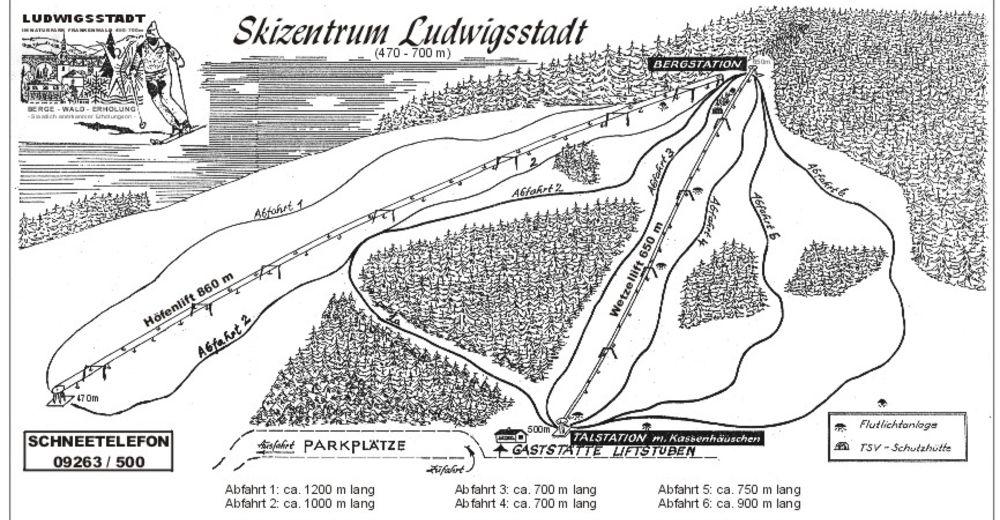 Pistenplan Skigebiet Skizentrum Ludwigsstadt / Wetzel
