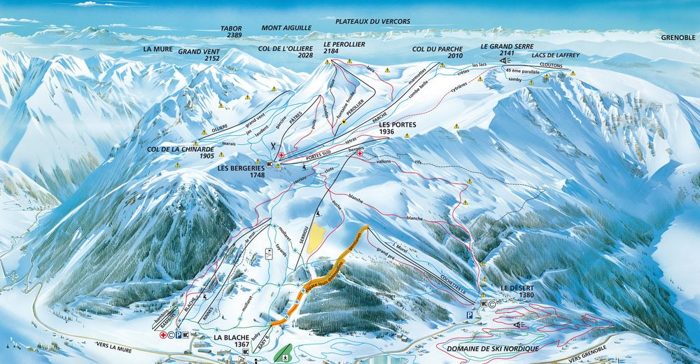 Piste map Ski resort Alpe du Grand Serre - La Morte