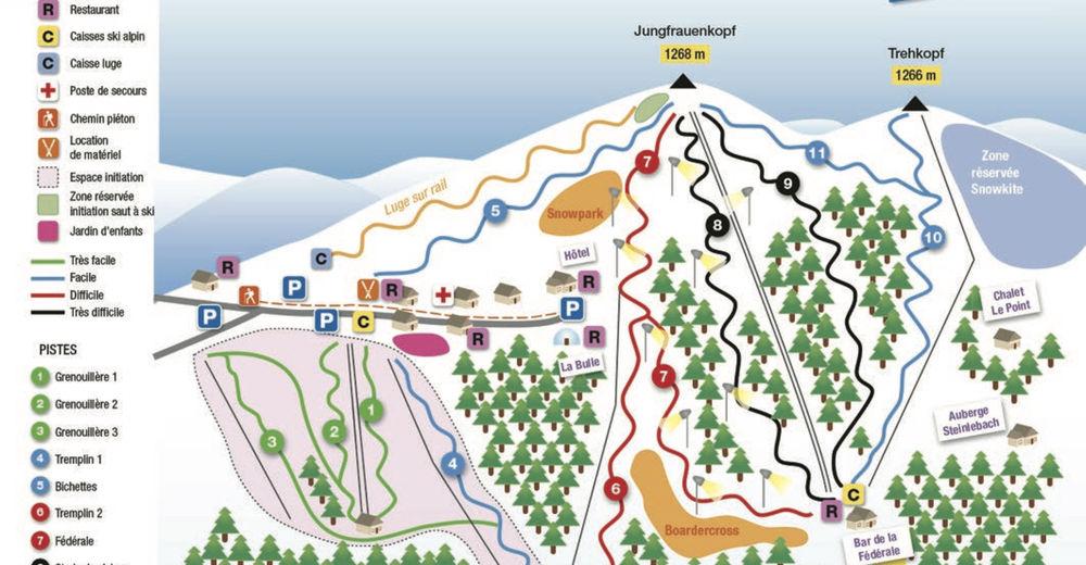 Plan skijaških staza Skijaško područje Grand-Ballon