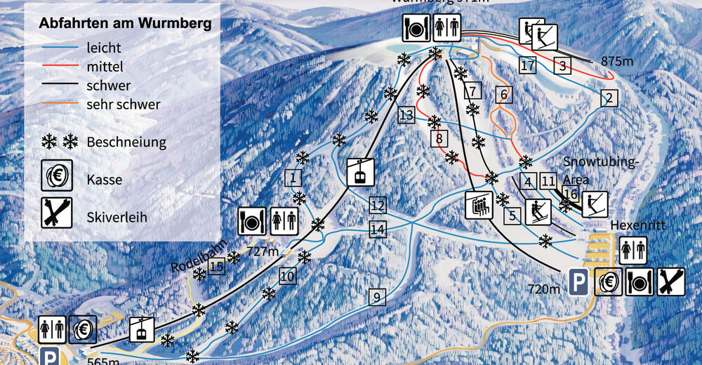 Bakkeoversikt Skiområde Wurmbergseilbahn - Braunlage