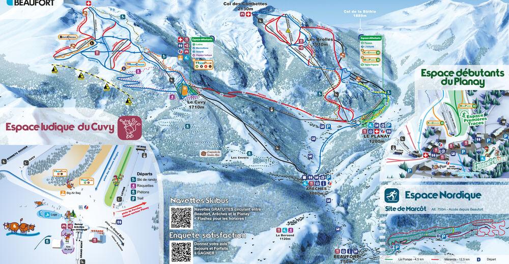Plan skijaških staza Skijaško područje Arêches-Beaufort