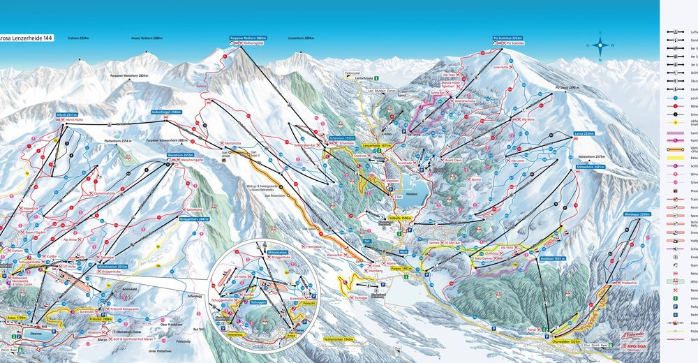 Piste map Ski resort Pradaschier
