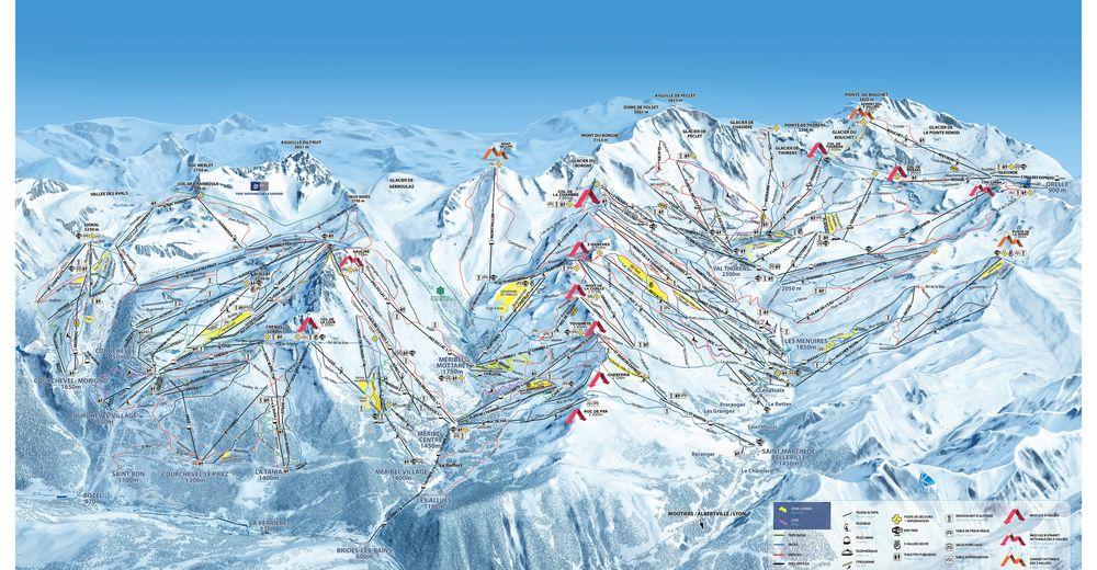 Planul pistelor Zonă de schi Brides-les-Bains / Les 3 Vallées