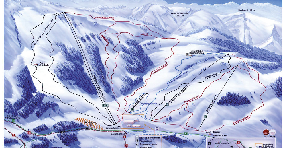 Mapa zjazdoviek Lyžiarske stredisko Alpenarena Hochhäderich - Hittisau - Riefensberg