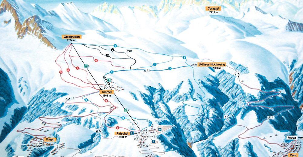 Pistplan Skidområde Hochwang
