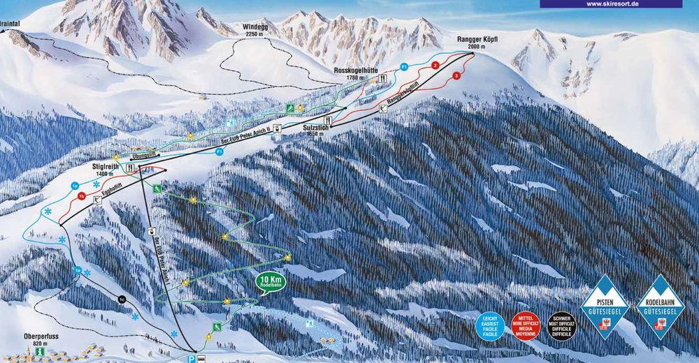 Bakkeoversikt Skiområde Oberperfuss - Rangger Köpfl