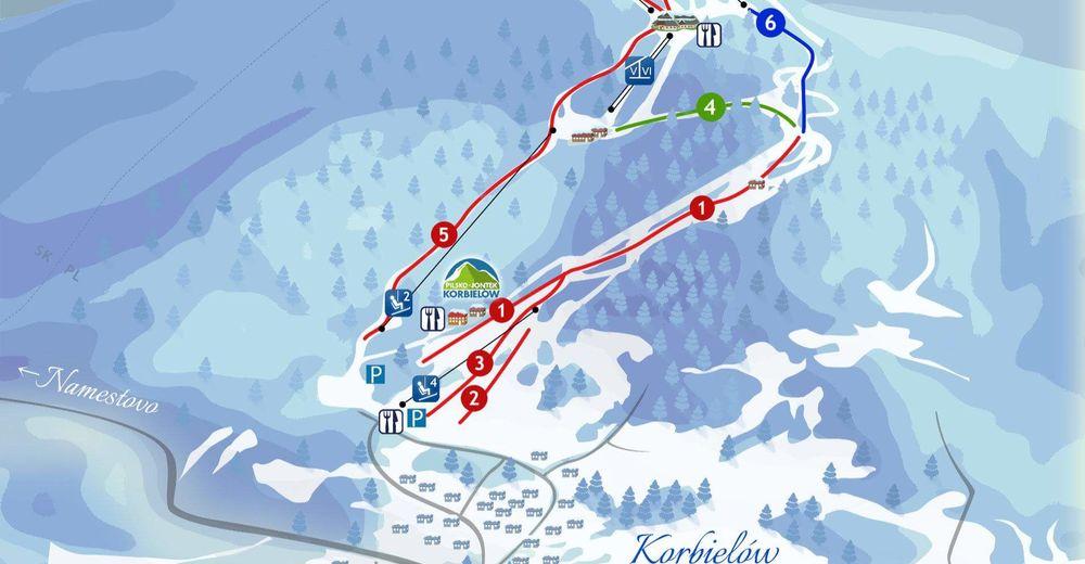 План лыжни Лыжный район Pilsko