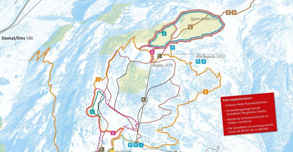 Mapa zjazdoviek Lyžiarske stredisko Feldis