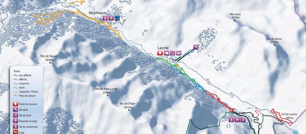 Loipenplan Larche - Val d'Oronaye