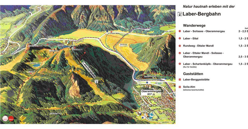 Mappa delle piste Comparto sciistico Laber - Oberammergau