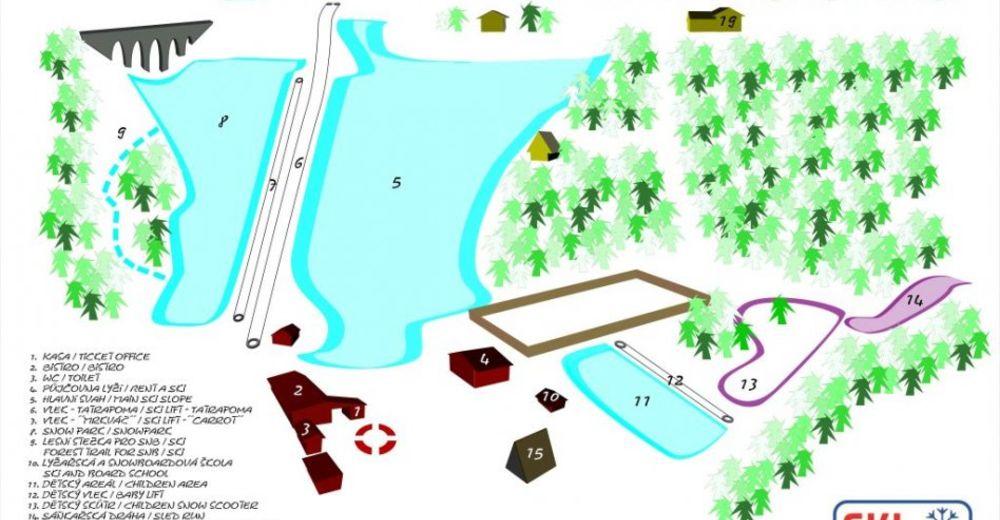 Plán sjezdovky Lyžařská oblast Nádraží - Pernink