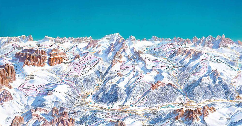 Pistenplan Skigebiet Canazei - Belvedere / Val di Fassa