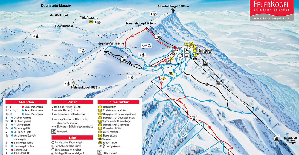Piste map Ski resort Feuerkogel - Ebensee