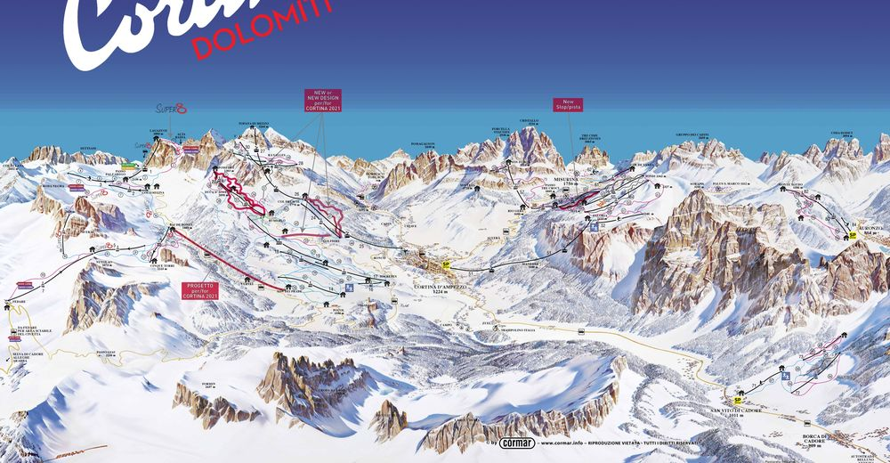 Pistplan Skidområde Cortina d'Ampezzo