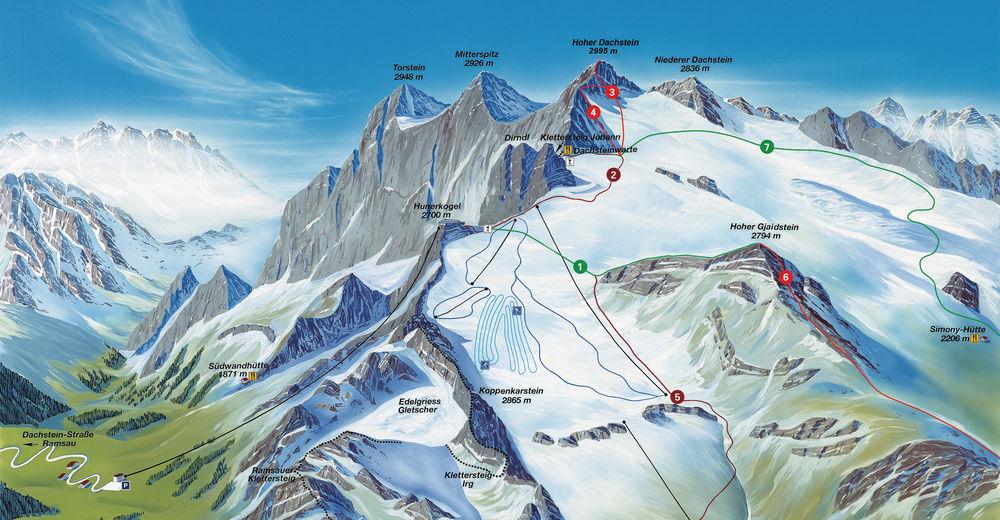 Plan de piste Station de ski Dachstein Gletscher Schladming Ramsau - Ski amade