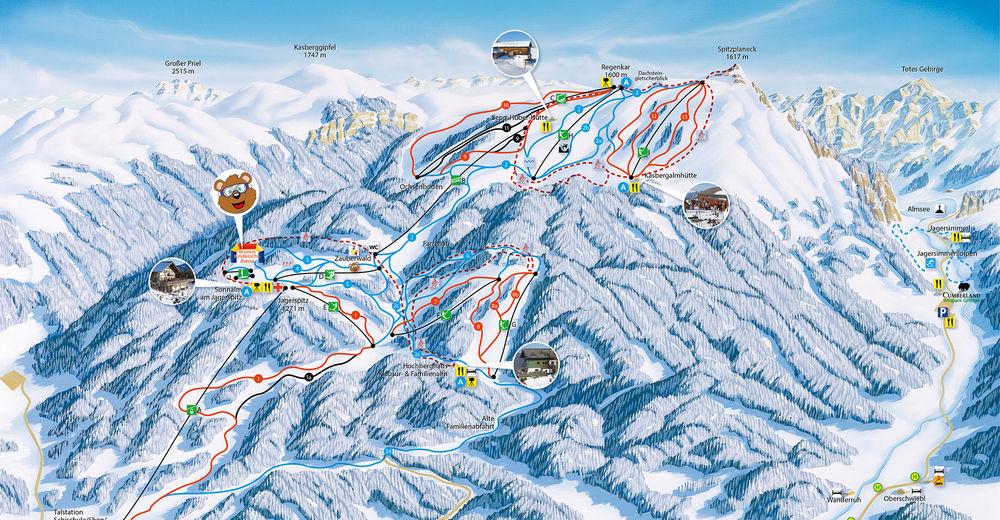 Pisteplan Skiområde Kasberg - Grünau im Almtal