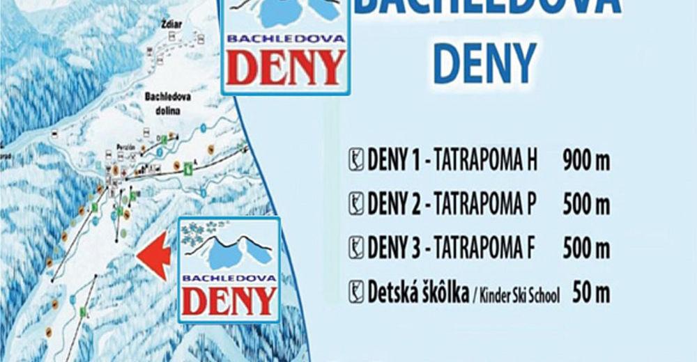 Mapa zjazdoviek Lyžiarske stredisko Bachledova DENY