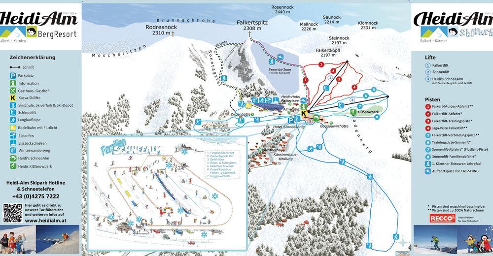 Planul pistelor Zonă de schi Falkert HEIDI ALM BergResort