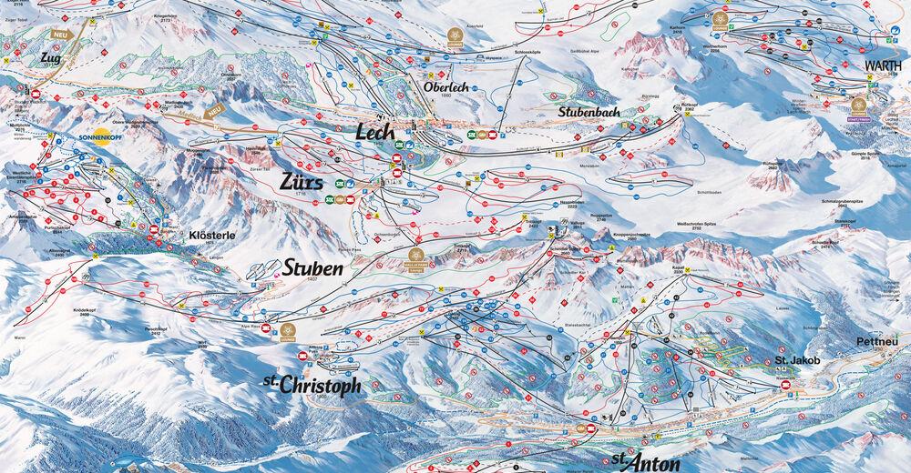 Mapa stoków Ośrodek narciarski Warth - Schröcken am Arlberg