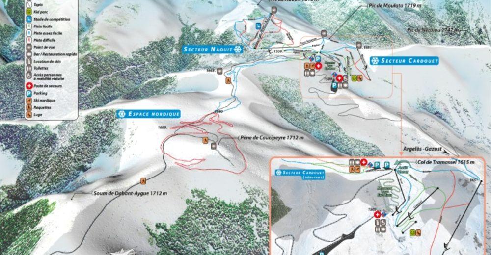 Piste map Ski resort Hautacam