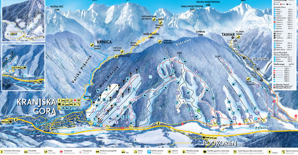 Piste map Ski resort Kranjska Gora