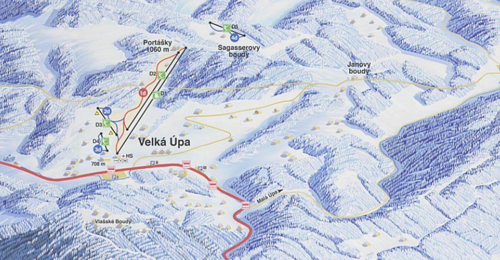 Bakkeoversikt Skiområde Velká Úpa / Černá hora - Pec