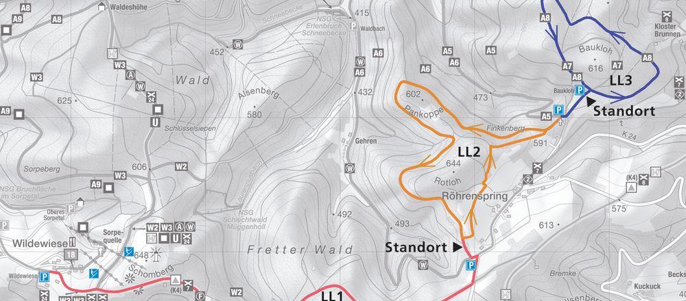Loipenplan Sundern - Wildewiese - Röhrenspring