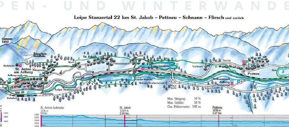 Loipenplan St. Anton am Arlberg