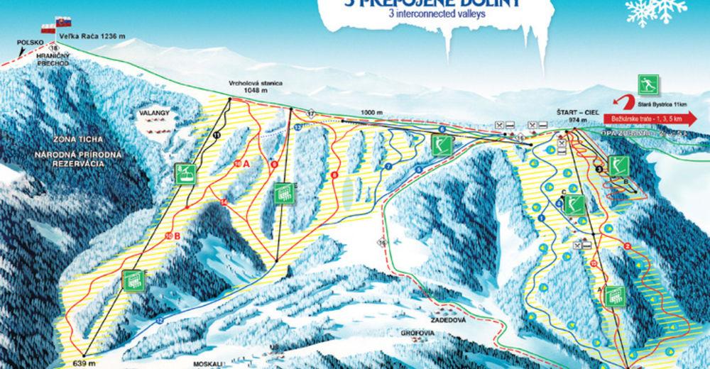 Planul pistelor Zonă de schi Snow Paradise Veľká Rača