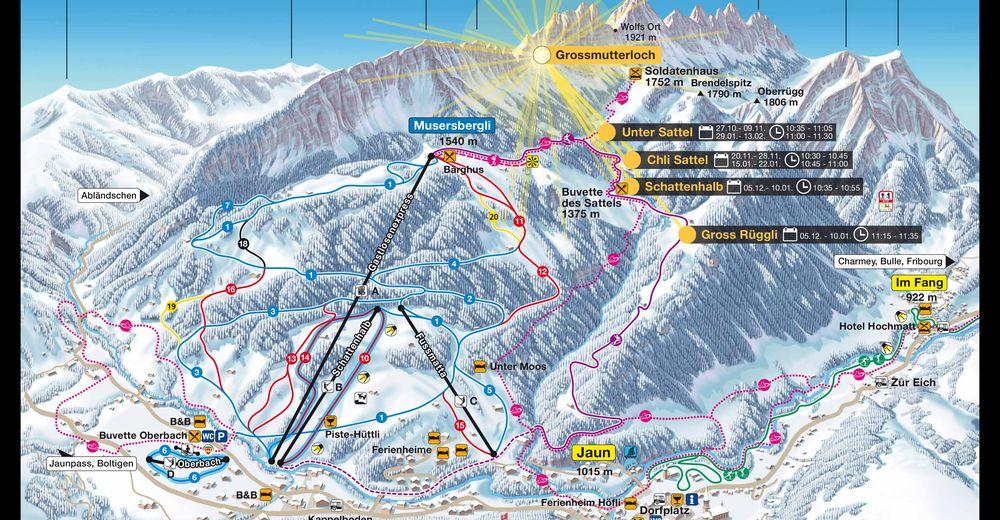 Plan skijaških staza Skijaško područje Jaun Gastlosen