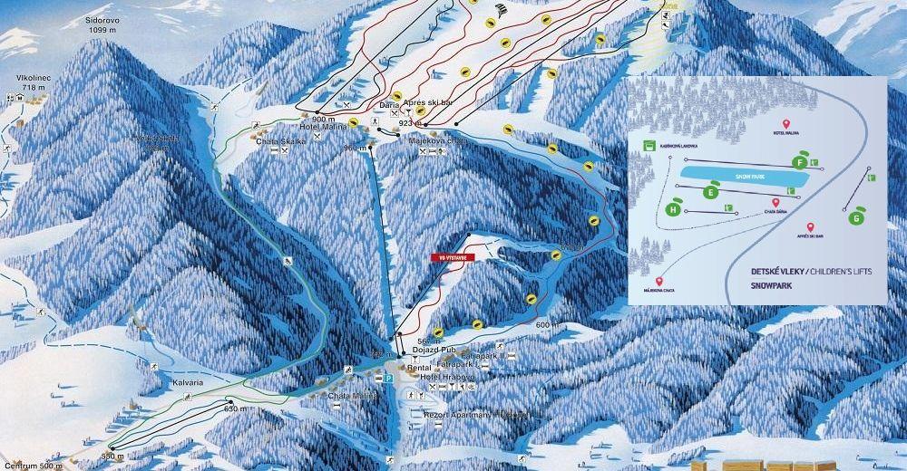 Mappa delle piste Comparto sciistico Malinô Brdo - Ružomberok