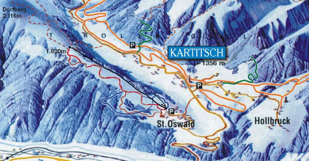 Pisteplan Skiområde Dorfberglift - Kanterlift / Kartitsch - Osttirol