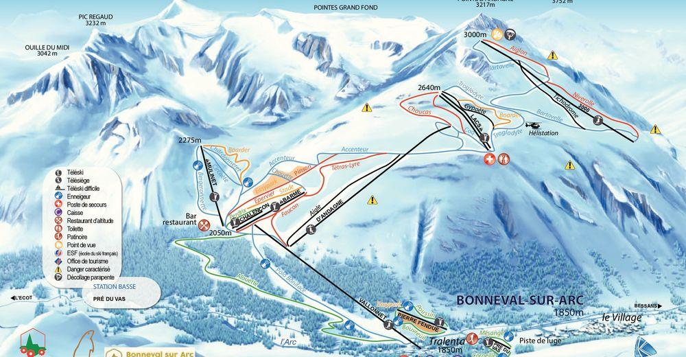 Piste map Ski resort Bonneval sur Arc
