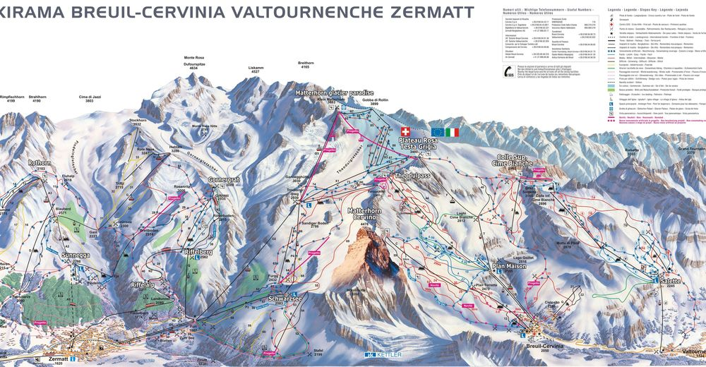 Piste map Ski resort Breuil - Cervinia