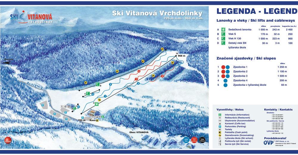 Mapa stoków Ośrodek narciarski SKI VITANOVÁ Vrchdolinky