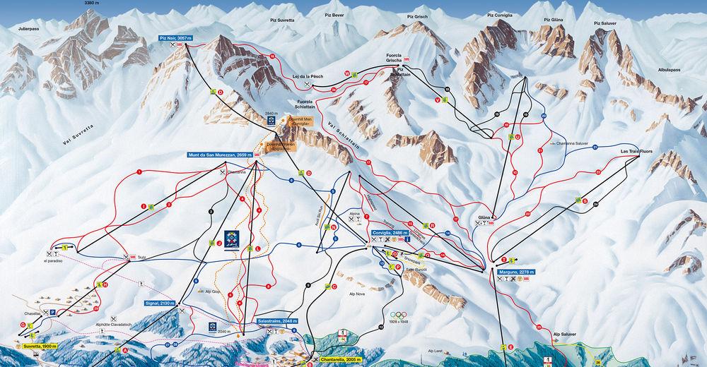 Mappa delle piste Comparto sciistico St. Moritz - Corviglia