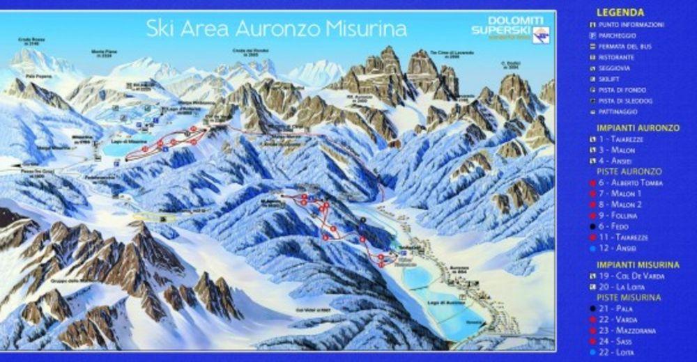 Pistenplan Skigebiet Auronzo - Monte Agudo