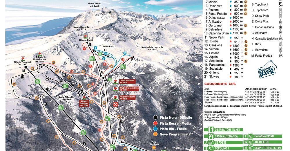 Pistenplan Skigebiet Ovindoli - Monte Magnola