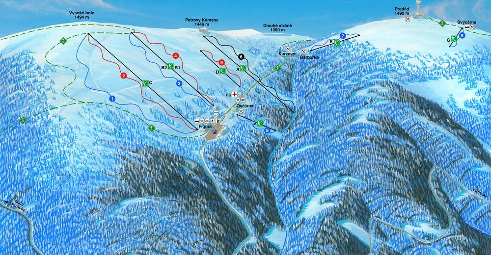 Plan de piste Station de ski Figura - Praděd