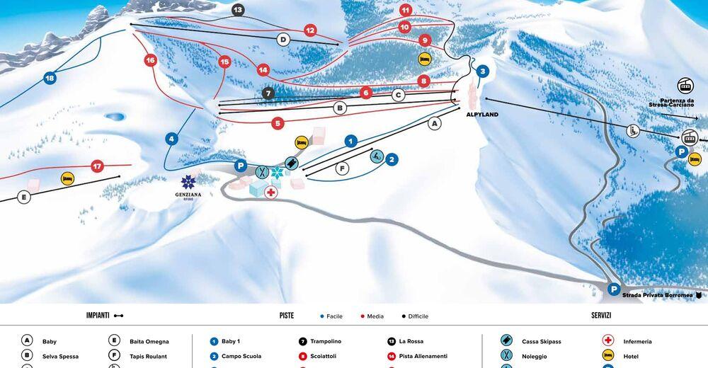 Pistenplan Skigebiet Mottarone