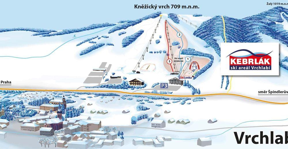 Načrt smučarske proge Smučišče Vrchlabí - Kněžický vrch