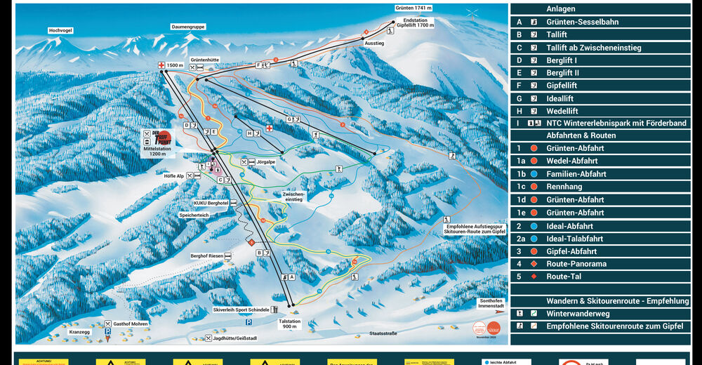 Planul pistelor Zonă de schi Grünten