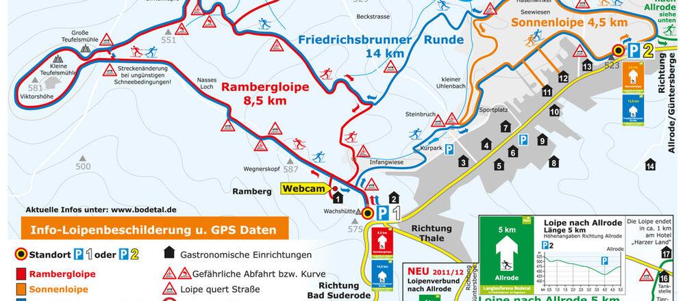 Loipenplan Friedrichsbrunn - Thale / Bodetal