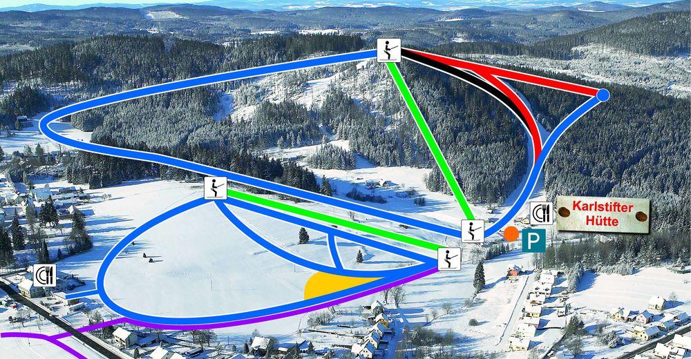 Plán sjezdovky Lyžařská oblast Aichelberglifte Karlstift