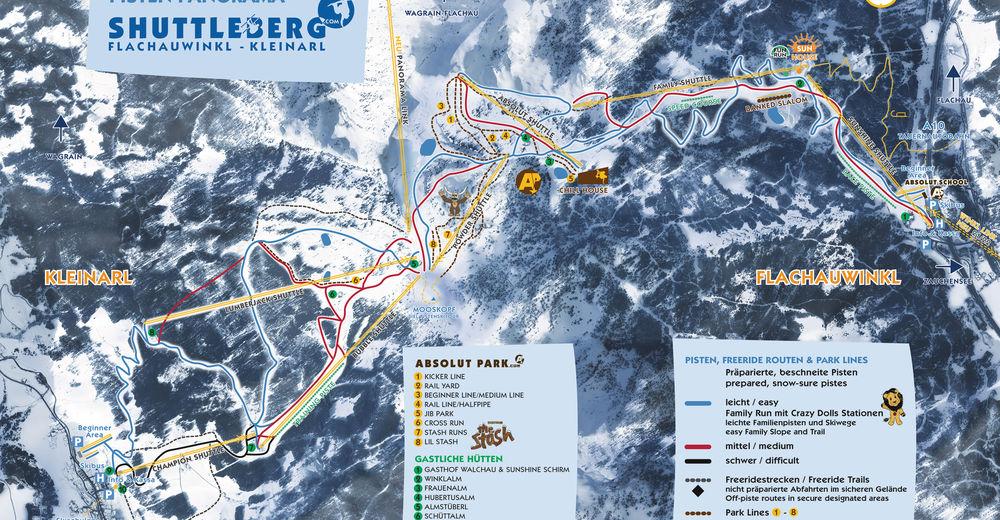 Planul pistelor Zonă de schi Shuttleberg Flachauwinkl-Kleinarl - Ski amade