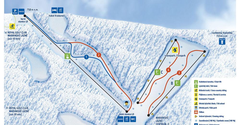 Plan de piste Station de ski Mariánky