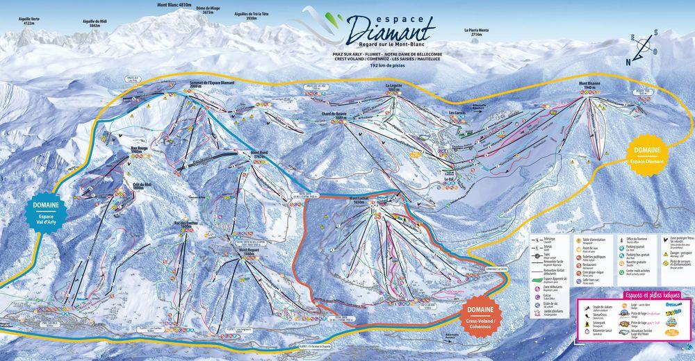 Plan skijaških staza Skijaško područje Crest-Voland Cohennoz - Espace Diamant